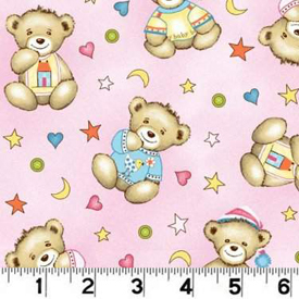 Click for Larger image of Hemstitching - Bear / Stars - R44 M773 226D - Focal Print