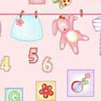 Click for Larger image of Hemstitching - Clothesline Kids - R44 6249 0226 - Baby Clothes on the Line - Pink Background