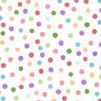 Click for Larger image of Hemstitching - Clothesline Kids - R44 6247 0226 - Multi-Colored Dots - White Background