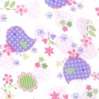 Click for Larger image of Hemstitching - Flowers and Dots - F4031-12F - Hearts - White and Purple