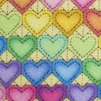 Click for Larger image of Hemstitching - Moda - Heart to Heart - MO 10733-14 - Moda Heart to Heart - Rainbow Hearts on Yellow