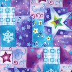Click for Larger image of Hemstitching - Clothworks - Snow Day - SD 23080F-1 - Clothworks Snow Day - Purple, Pink, Blue with big stars