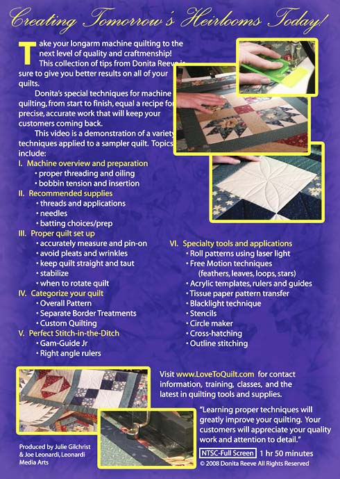 Tips and Techniques for Longarm Quilting DVD Video Back